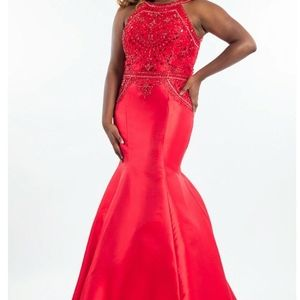 Rachel Allen gown #7813 red mermaid halter top